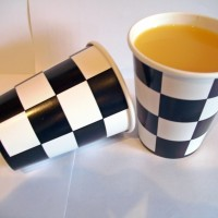 Black and White Chequered Paper Cups
